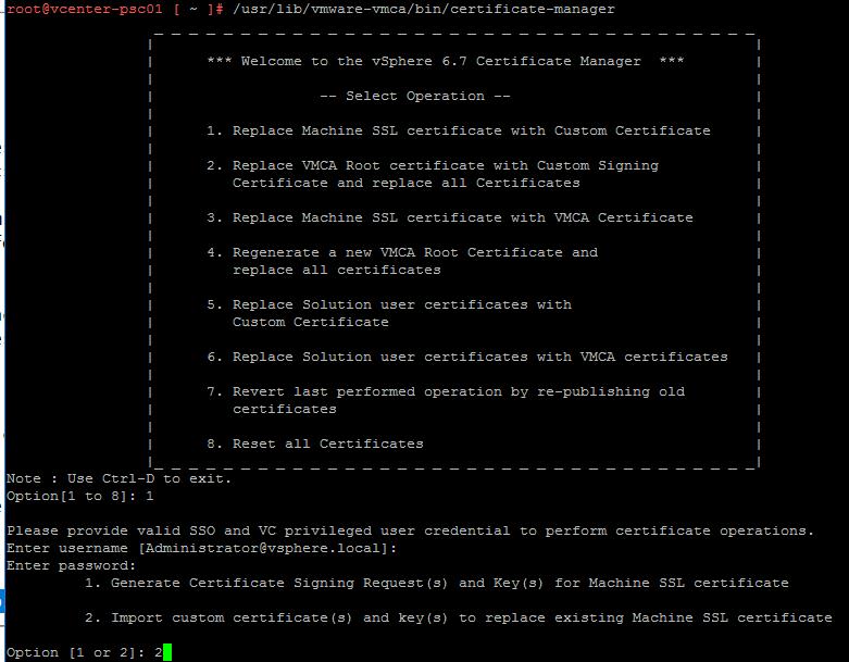 Part 2 Vmware Vcenter 67 Psc External Certificate Installation